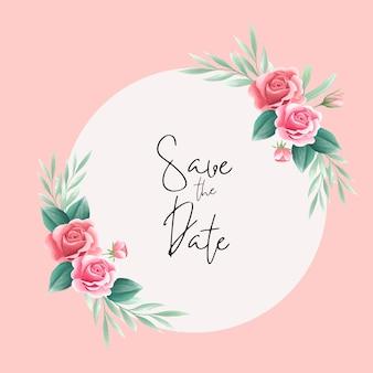 Elemento de arranjo floral rosa para cartão de casamento, cartão comemorativo, calendário, banner, papel de parede Vetor Premium
