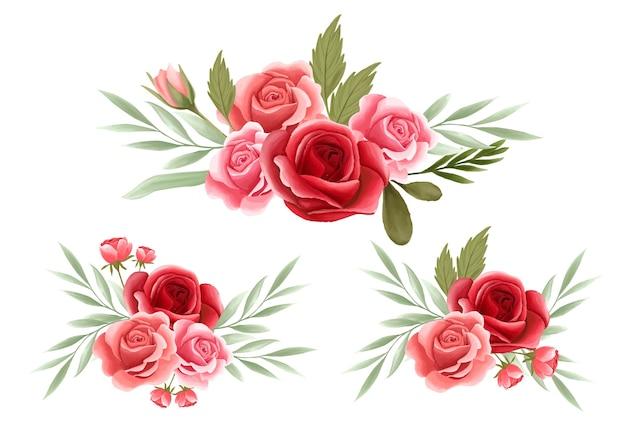 Elemento de arranjo floral rosa para cartão de casamento