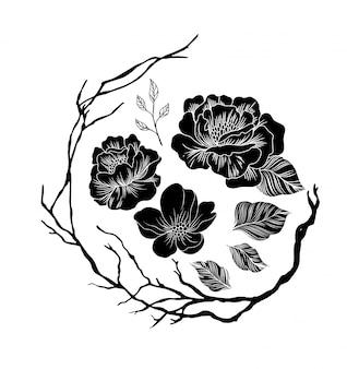 Elemento de arranjos de flores preto e branco
