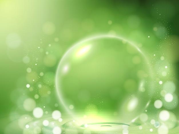 Elemento de bolha transparente, objetos decorativos em fundo verde bokeh, ilustração 3d