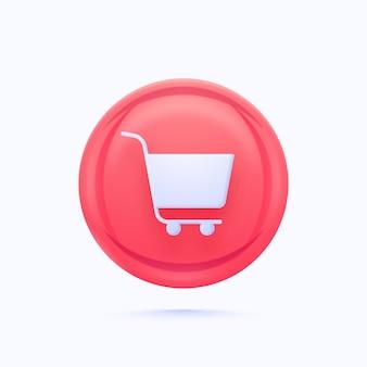 Elemento de botão de compras ou carrinho brilhante na cor rosa e azul.