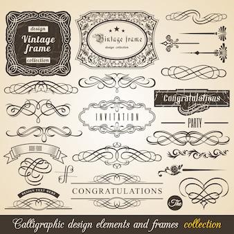 Elemento de caligrafia border corner frame e convite coleção