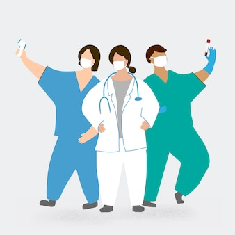 Elemento de caráter da equipe médica do coronavirus