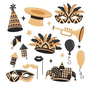 Elemento de carnaval em estilo simples, com cores douradas e pretas