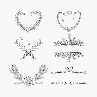 Elemento de casamento doodle coleção de estilo de arte