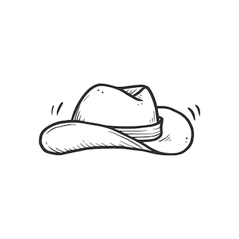 Elemento de chapéu de cowboy desenhado à mão. estilo de desenho de doodle em quadrinhos. cowboy, ícone do conceito ocidental. ilustração isolada do vetor.