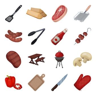 Elemento de churrasco dos desenhos animados. ilustração em vetor equipamentos churrasco e grelha.