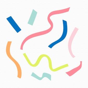 Elemento de colagem de fitas coloridas, conjunto de vetores de clipart feminino