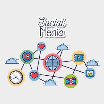 Elemento de conexão de redes sociais netword