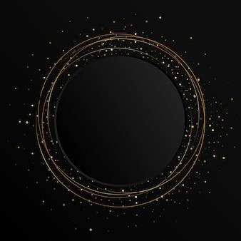 Elemento de cor abstrata de ouro com efeito de brilho em fundo escuro. bandeira de círculo preto