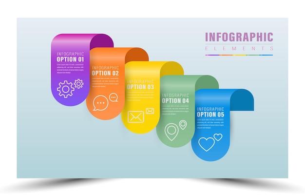 Elemento de cor de 5 etapas de infografia
