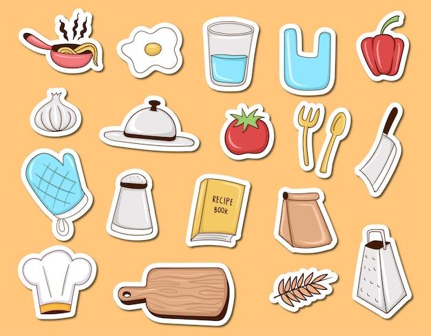 Elemento de cozinha colorido desenhado à mão