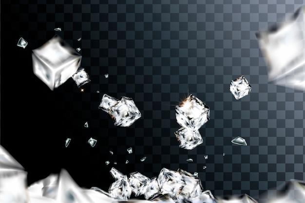 Elemento de cubos de gelo voando em fundo transparente