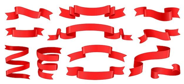 Elemento de decoração de banner de seda de fitas vermelhas realistas, etiquetas de fita onduladas vazias para conjunto de vetores de produto