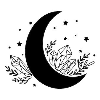 Elemento de decoração de lua celestial. ilustração vetorial.
