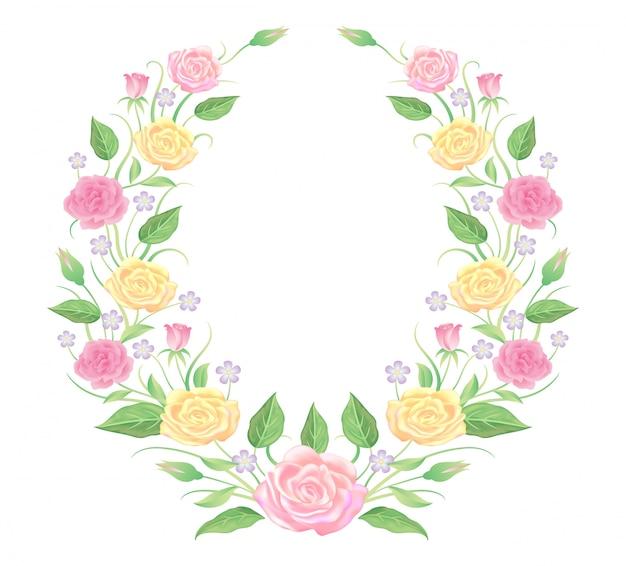 Elemento de decoração, rosa e folhas de modelo de quadro floral