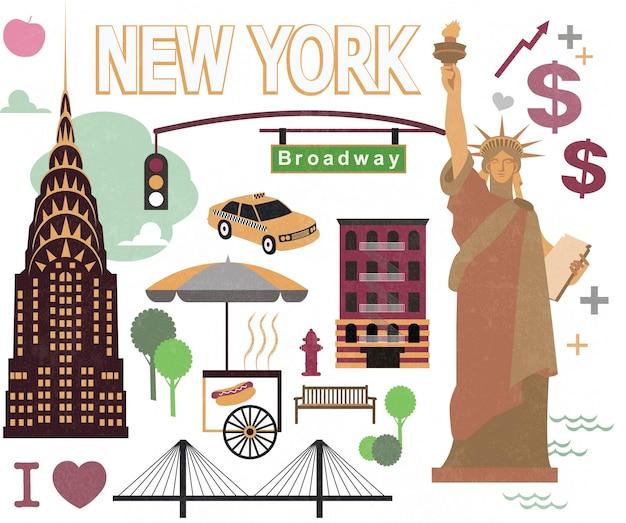 Elemento de desenho animado da cidade de nova york