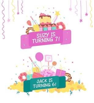 Elemento de desenho vetorial com elementos de decoração de aniversário bd bolo doce guirlanda confete