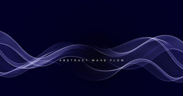 Elemento de design abstrato onda azul brilhante em fundo escuro.