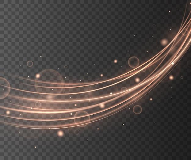 Elemento de design abstrato onda de ouro com efeito de brilho em fundo escuro.