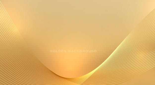 Elemento de design abstrato onda dourada brilhante com efeito de luz em fundo dourado suave