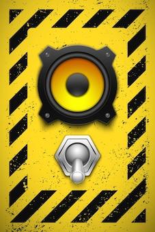Elemento de design com alto-falante e botão.