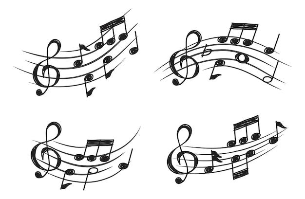 Elemento de design da nota de música no estilo do doodle