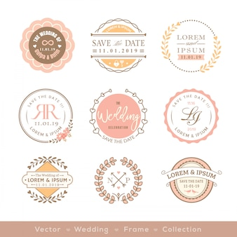 Elemento de design de distintivo de quadro retrô casamento pastel