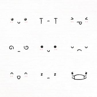 Elemento de design de emoticon fofo com diversos sentimentos em conjunto de estilo doodle