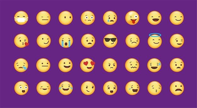 Elemento de design de emoticon fofo de vetor com vários sentimentos adesivos de rostos com emoções diferentes