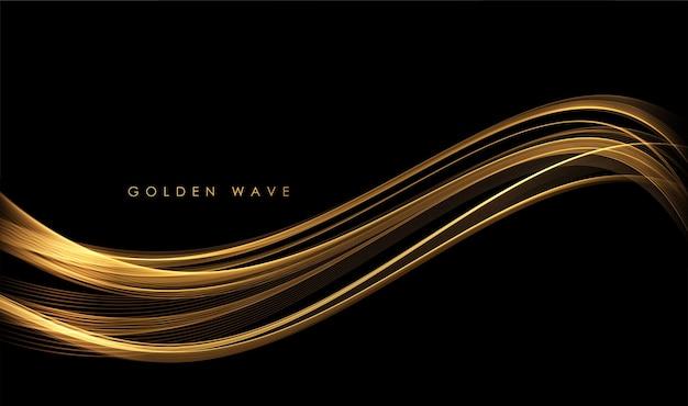 Elemento de design de linhas móveis douradas brilhantes de ondas abstratas de ouro com efeito glitter em fundo escuro para cartão e voucher de desconto