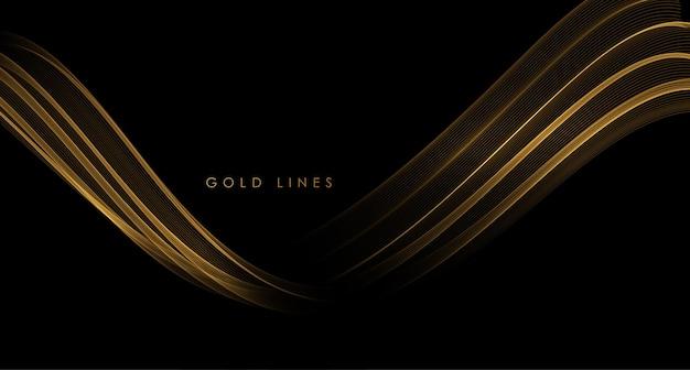 Elemento de design de linhas móveis douradas brilhantes de ondas abstratas de ouro em fundo escuro para cartão de felicitações