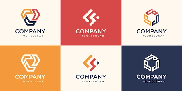 Elemento de design de logotipo da empresa. hexágono abstrato, escudo, símbolos em forma.