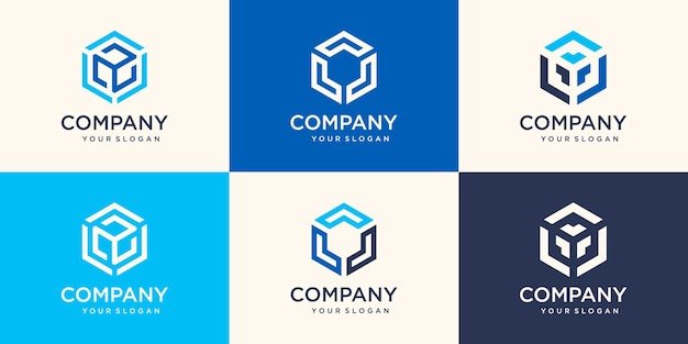 Elemento de design de logotipo da empresa. símbolos abstratos em forma de hexágono.