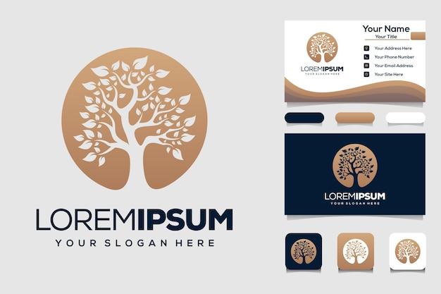 Elemento de design de logotipo de árvore dourada modelo de logotipo de jardim verde e cartão de negócios