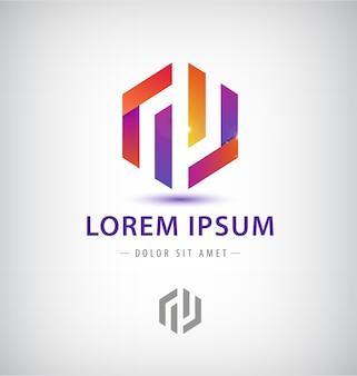 Elemento de design de logotipo de fita da empresa. hexágono abstrato em forma de símbolo colorido.
