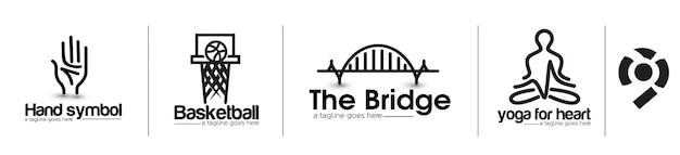 Elemento de design de logotipo de ioga de basquete de ponte moderna