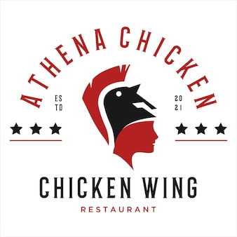 Elemento de design de logotipo de restaurante de frango em estilo vintage para emblema de etiqueta de logotipo e outro design