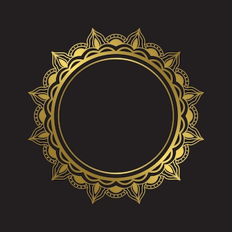 Elemento de design de moldura de mandala de ouro de luxo. mandala de boho de vetor na cor dourada. emblema da mandala do círculo com padrões florais.
