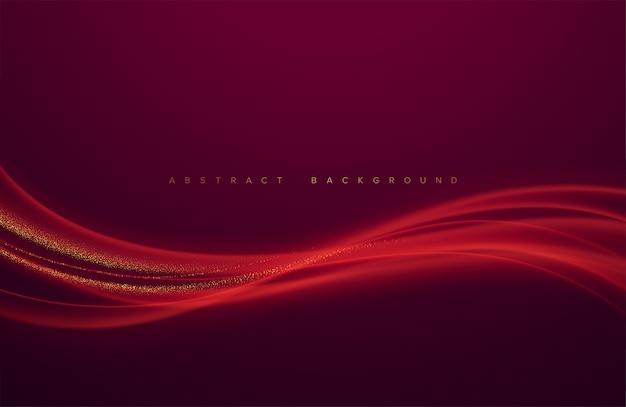 Elemento de design de onda vermelha cor brilhante abstrato com fundo escuro.