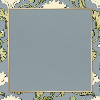 Elemento de design de quadro de vetor de flor de papoula vintage