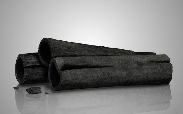 Elemento de design de vara de carvão de ilustração 3d em fundo cinza claro