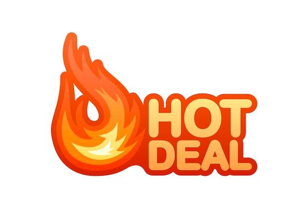 Elemento de design de vetor de negócio quente de fogo vetor de bandeira vermelha emblema de oferta especial promoção moderna