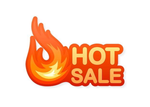 Elemento de design de vetor de venda quente de fogo vetor de bandeira vermelha emblema de oferta especial