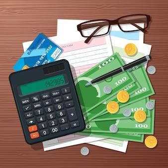 Elemento de design do conceito de tempo de imposto, estilo simples.