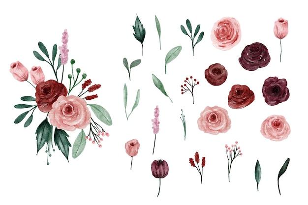 Elemento de design floral aquarela vermelho bordô