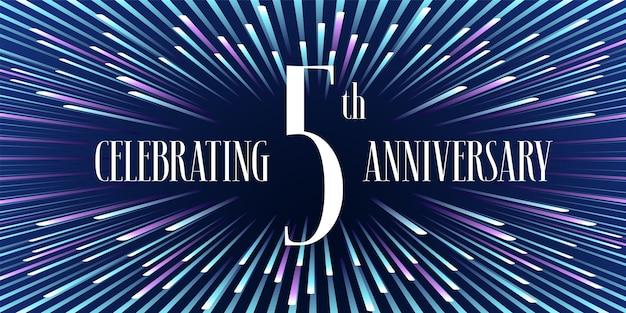 Elemento de design gráfico com fundo abstrato para o 5º aniversário