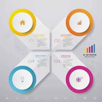 Elemento de design gráfico de infográficos de 4 etapas. para apresentação de dados.