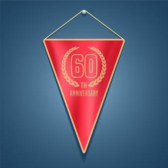 Elemento de design gráfico para decoração de cartão de aniversário de 60 anos