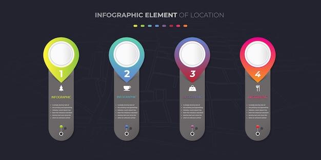 Elemento de design infográfico de locais